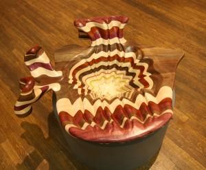 "Fabulous Flaming Fred | Exotic Wood & Plexiglas | 13""x34""x31"" | $24,000"
